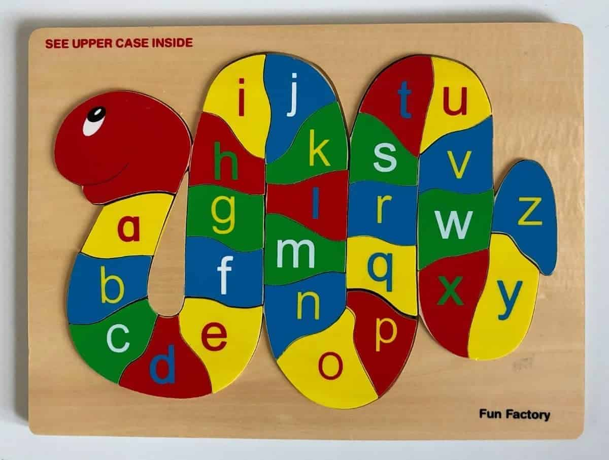 Wooden Alphabet Snake Puzzle