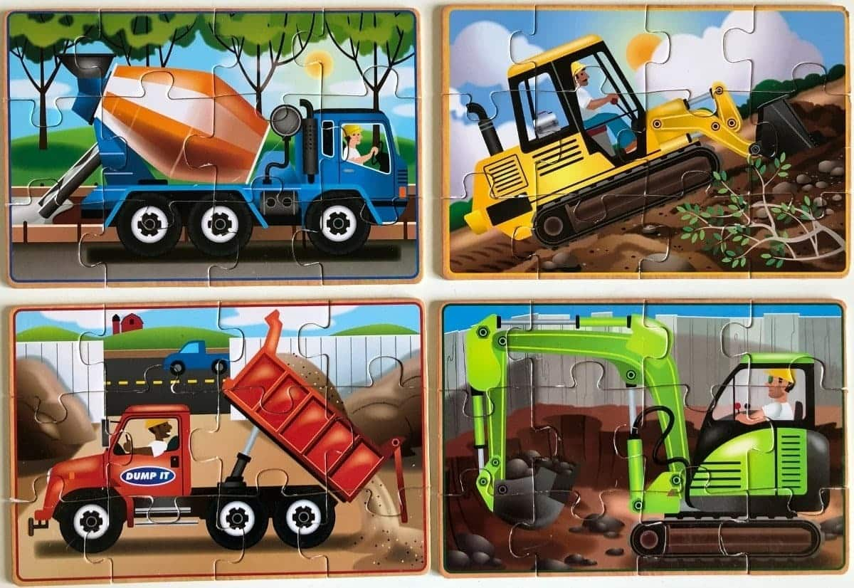 Wooden Construction Puzzles in a Box